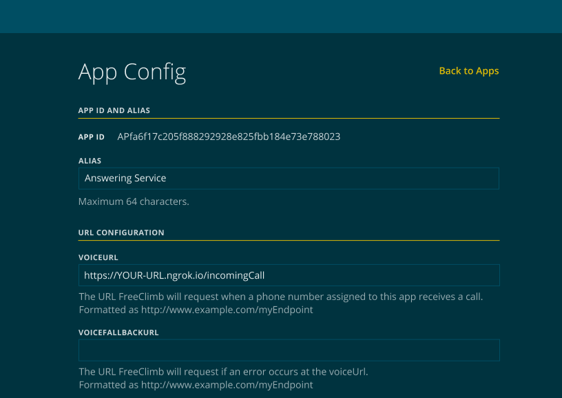 Example of a completed App Config.