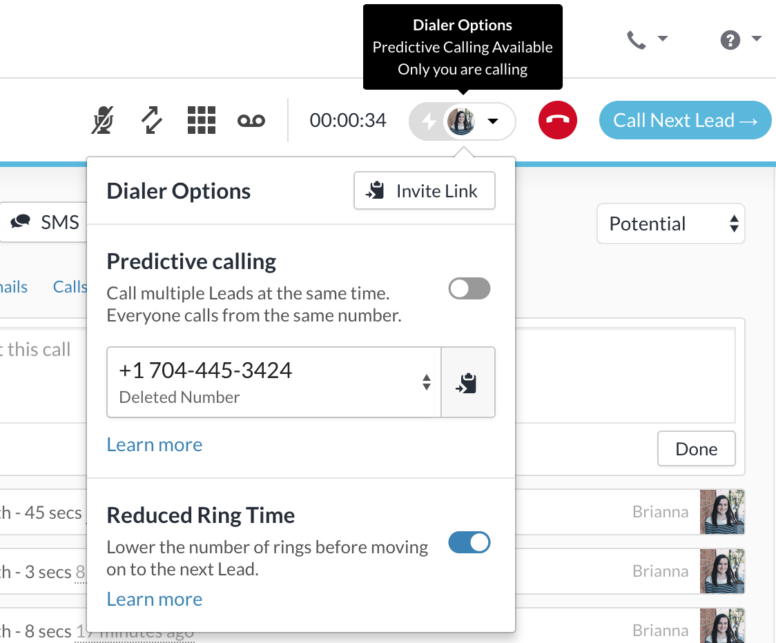 Power Dialer Settings