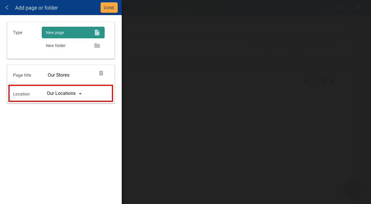 Add page to folder