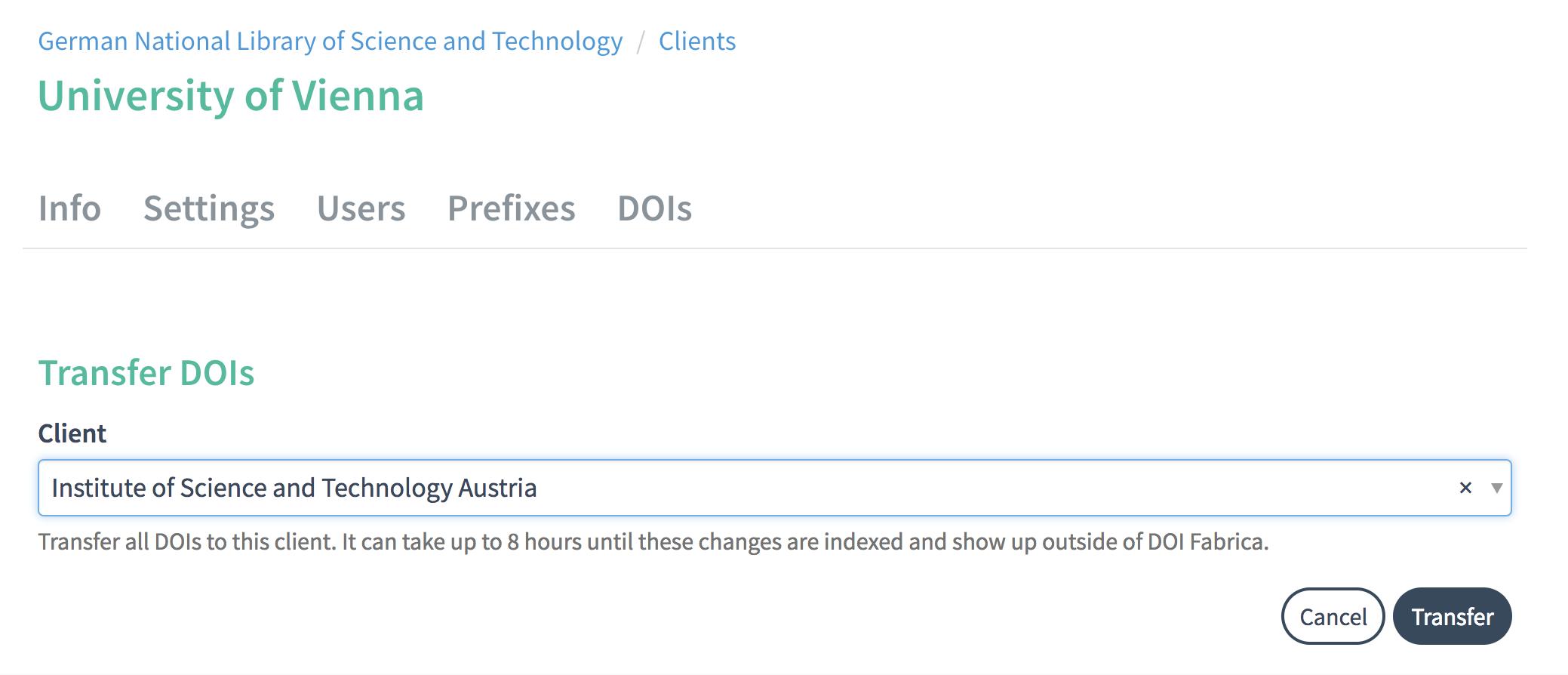 DOI tab: transfer DOIs to Client