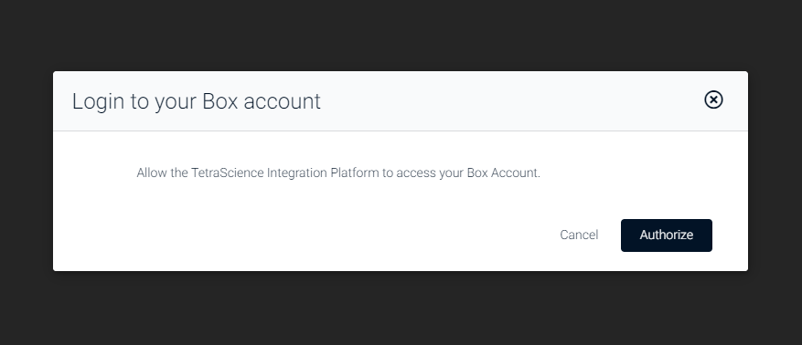 A modal will pop-up and request authorization to access the Box account which will then load the Box page itself.