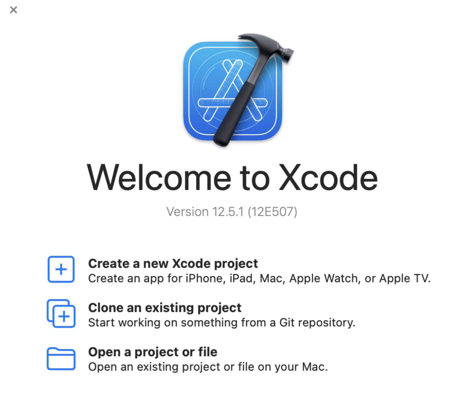 Select **+ Create new Xcode project**.