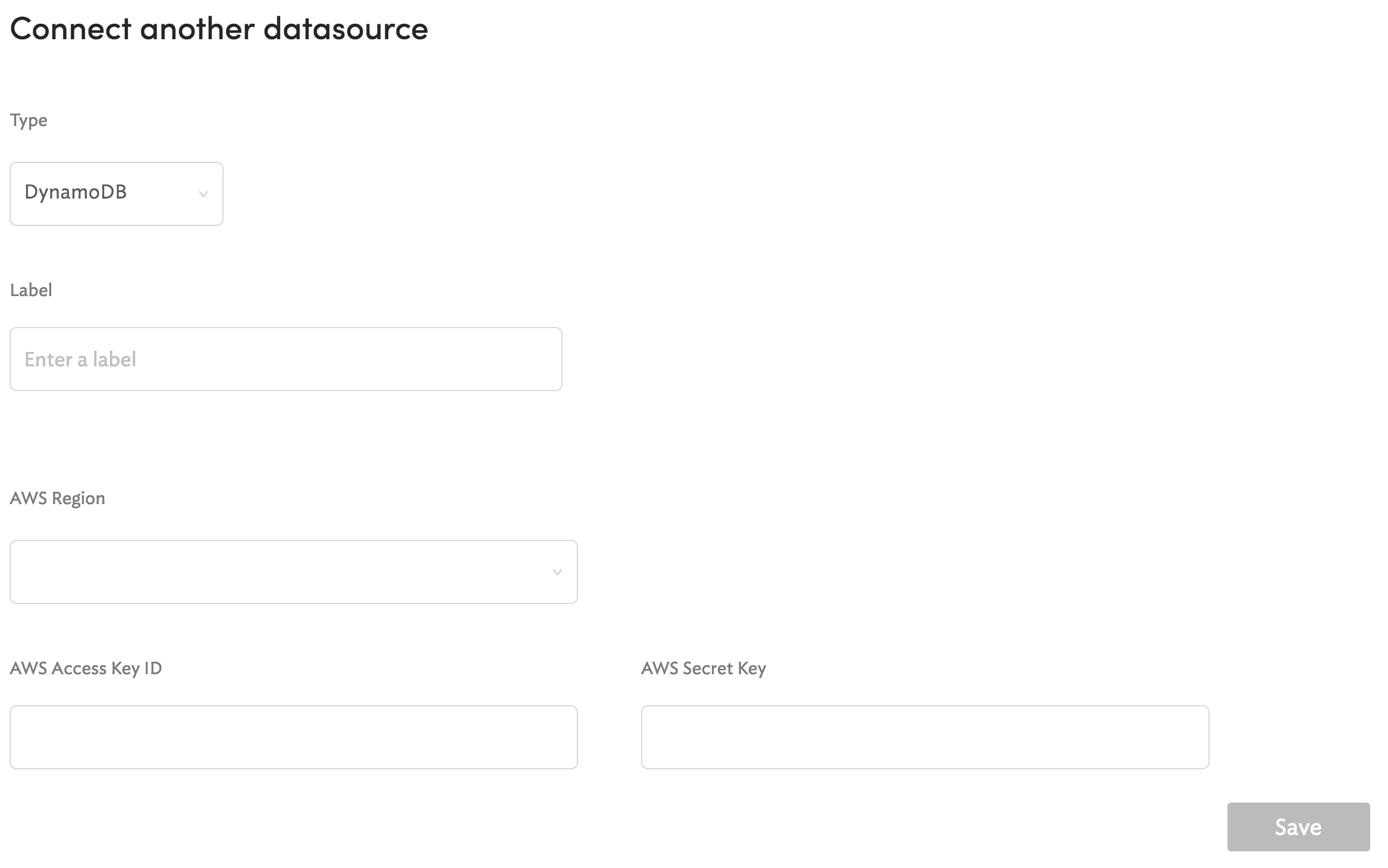 Configuration screen for DynamoDB.