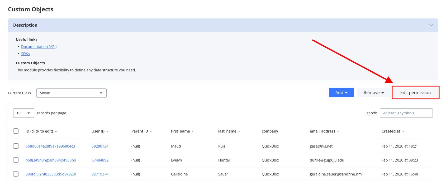 set permission schema for a class, for web app