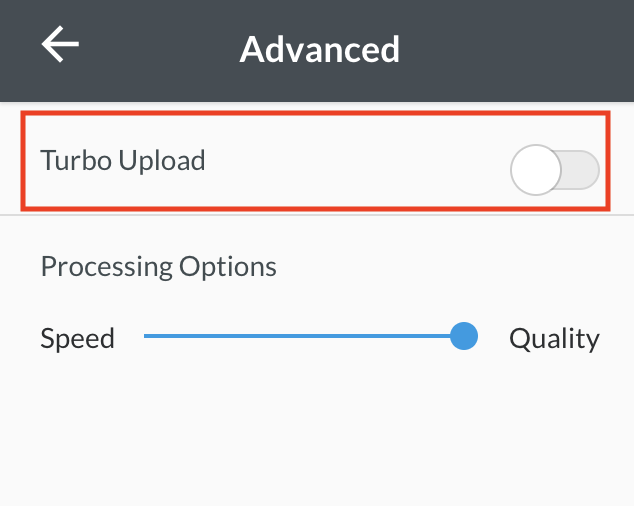 "Selecting ""Turbo Upload"" to reduce uploading time"