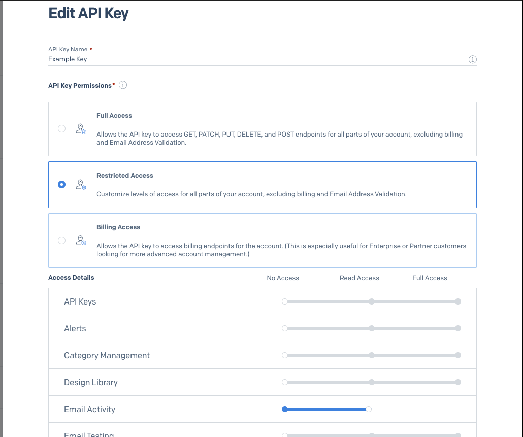 Enable read access to Email Activity on the API Key.
