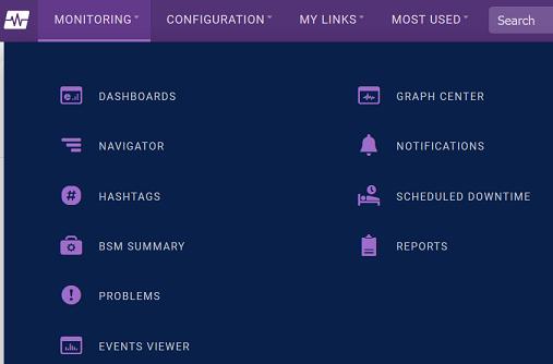 Monitoring Navigation Menu Screenshot