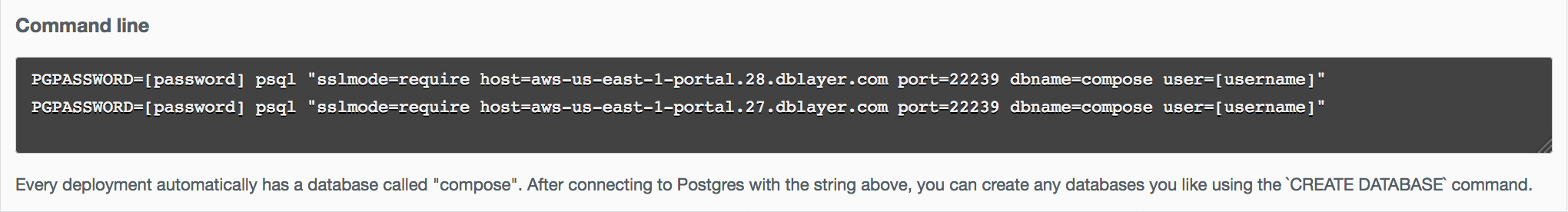 Example `psql` connection string.
