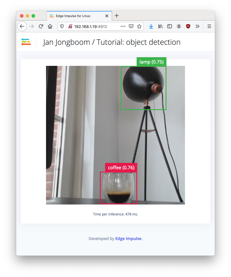 Object detection model running on a Raspberry Pi 4