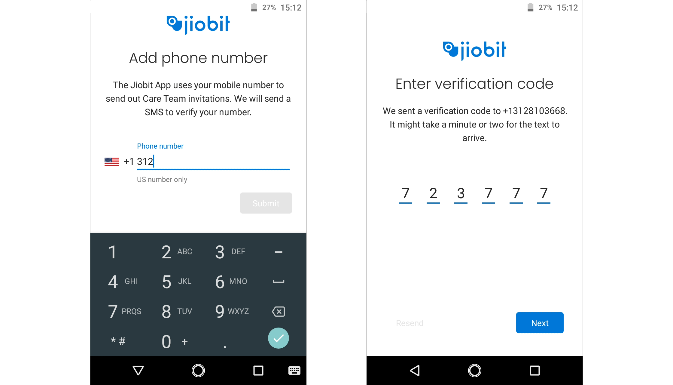 Android phone number and verification screens.