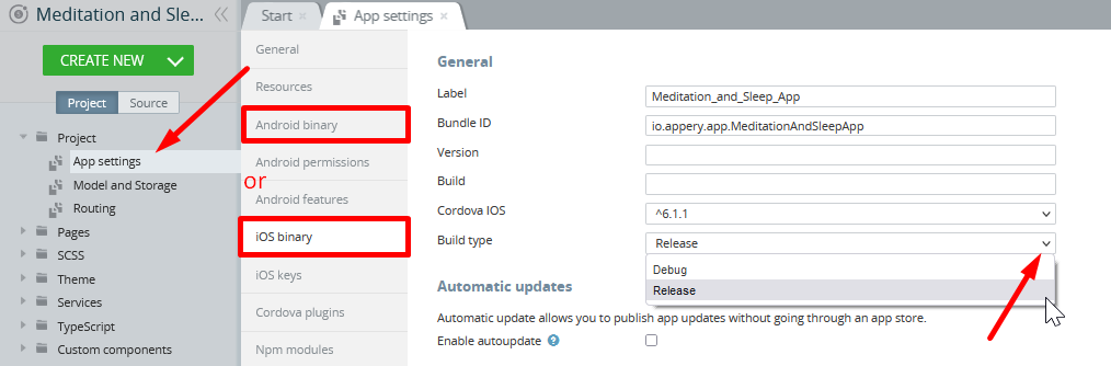 Selecting iOS binary build type