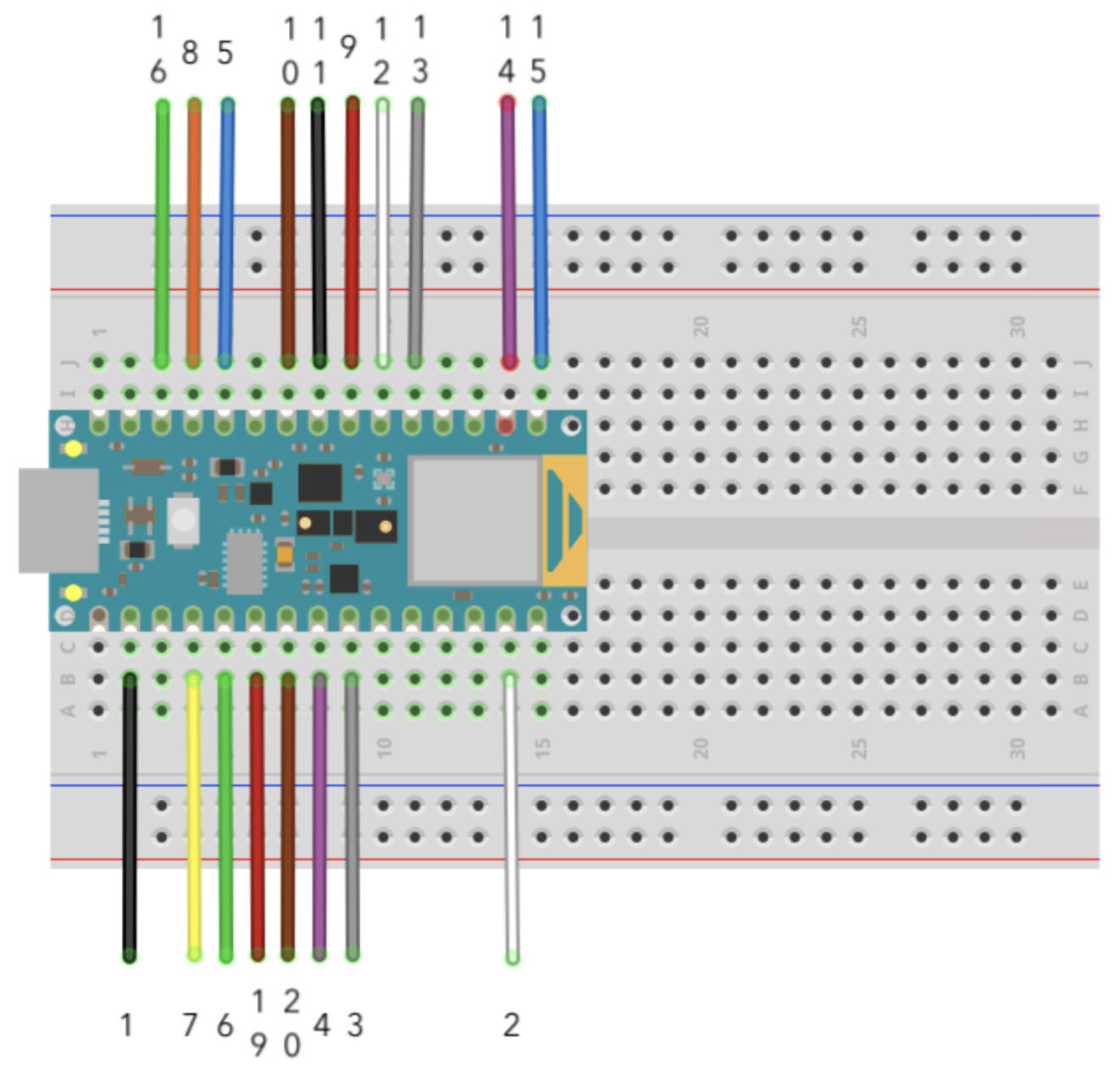 Wiring diagram showing the OV7675 connections to Arduino Nano 33 BLE Sense.