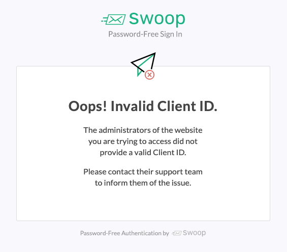 Invalid Client ID