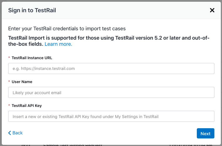 The TestRail Sign-In screen.