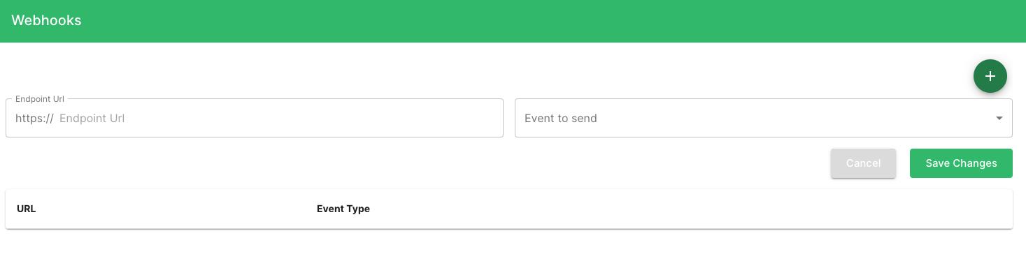 Railz Dashboard - Webhooks. Click to Expand.