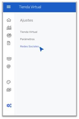 """Seleccionar el icono de configuración y hacer click en la opción """"Tienda Virtual"""""""