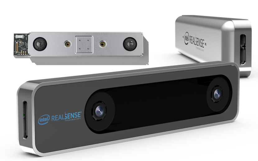 Fig. 3. The Intel RealSense Tracking Camera T265 is a complete embedded SLAM solution that uses Visual Inertial Odometry (VIO) to track its own orientation and location (6DoF) in 3D space.