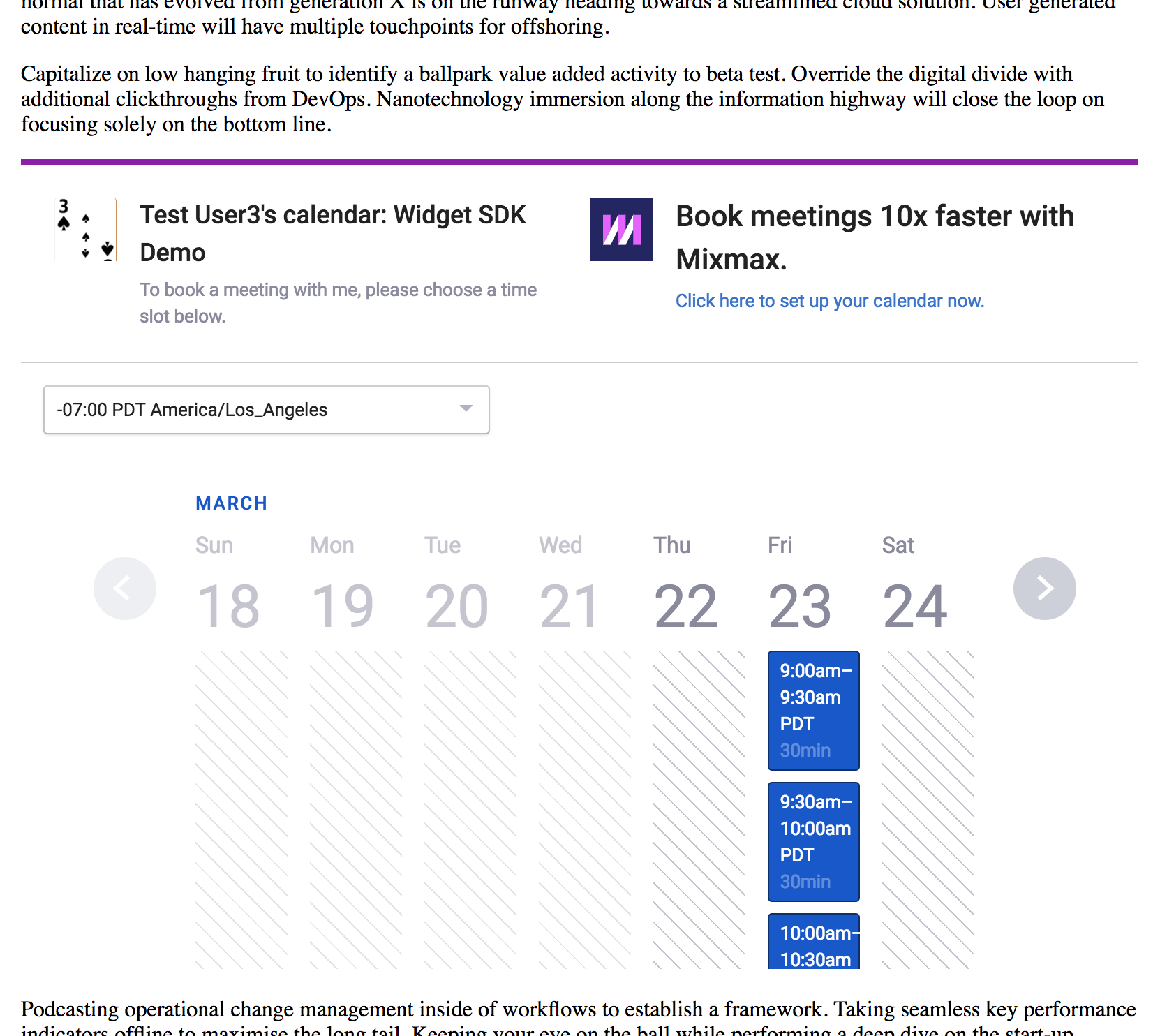 Embed your meeting type public calendar in your site.