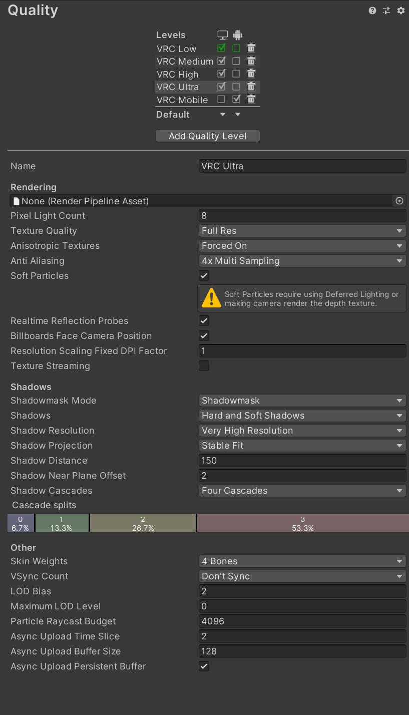 VRC Ultra settings on PCVR.