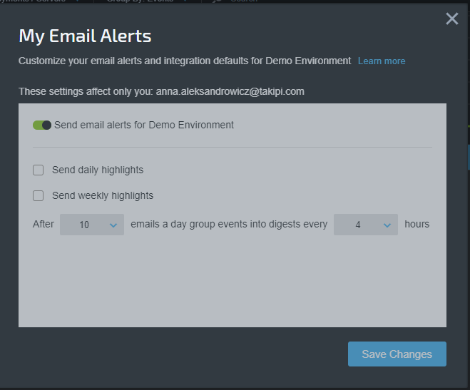 My Email Alerts Dialog