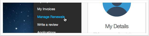 Click the 'Manage Renewals' link in the left hand menu