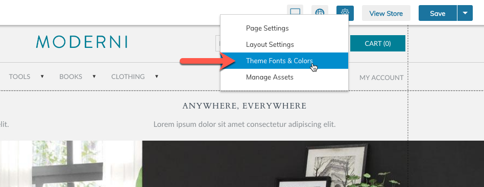 Click on the Gear Icon to select the Theme Fonts & Colors Option.
