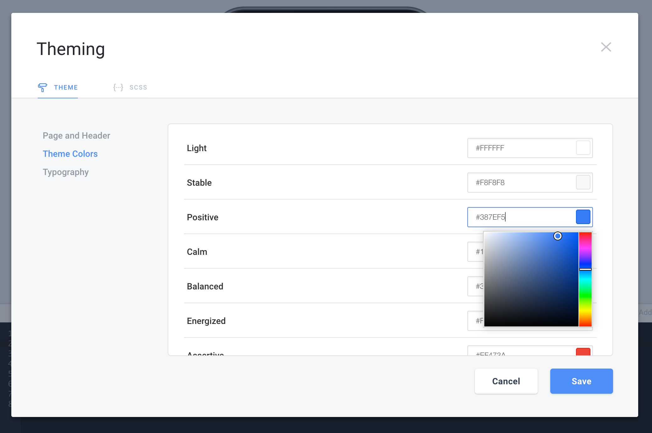 Theming & SCSS