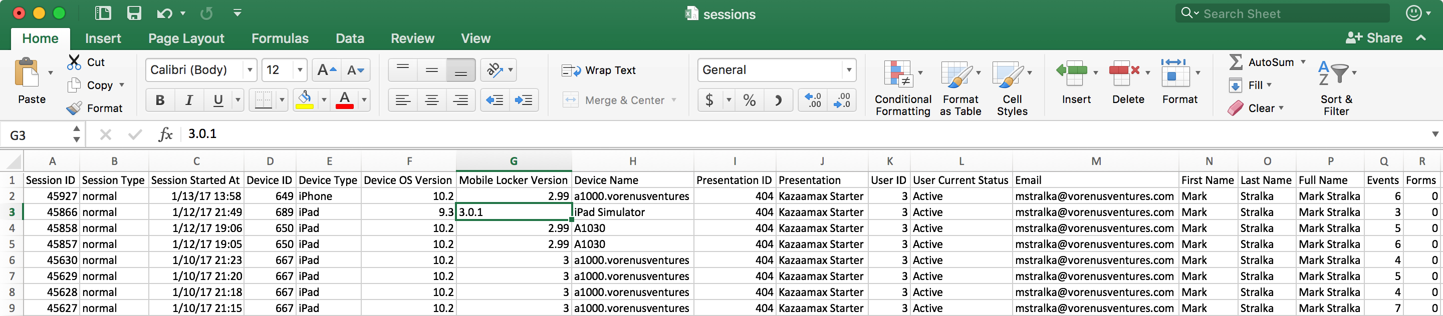 Export the sessions to Excel — then slice and dice!