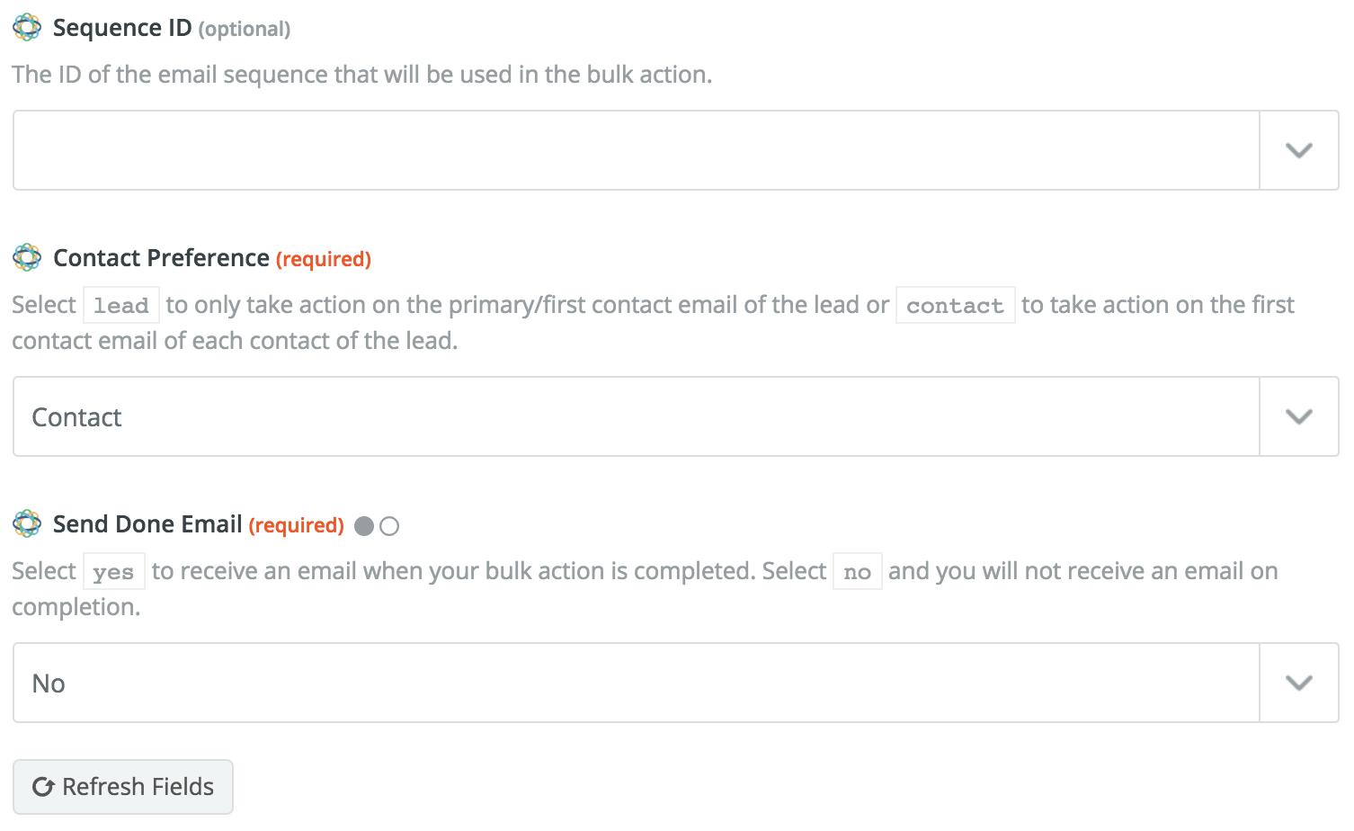 Bulk Subscription action configuration continued.
