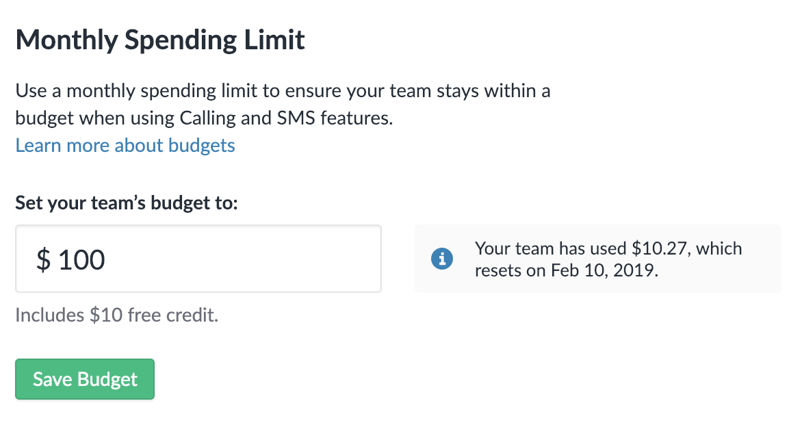 Setting a Monthly Spending Limit for your team.