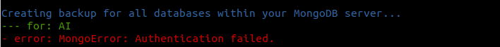 Unable to to database backups