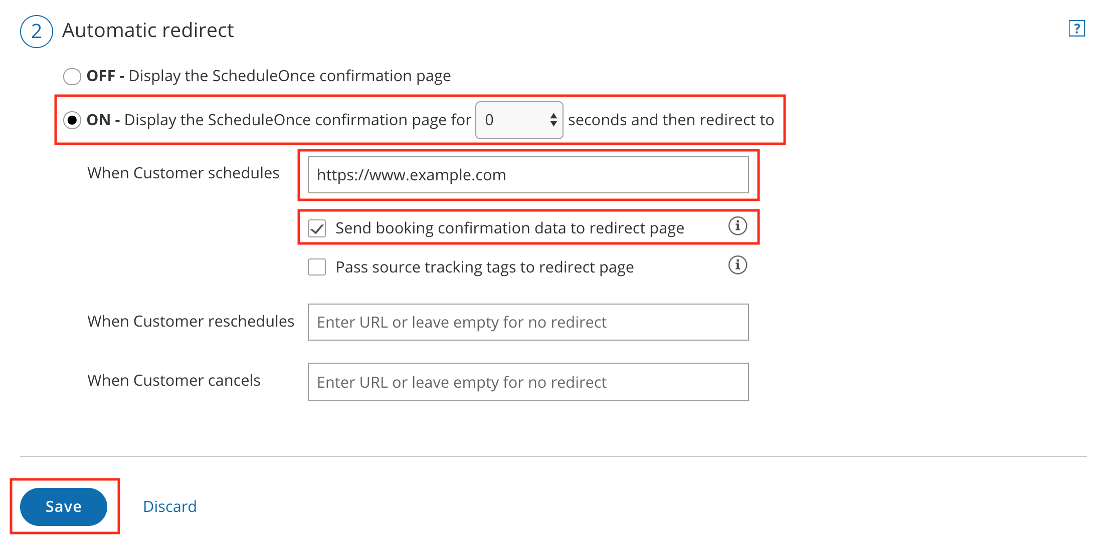 Figure 1: Automatic redirect settings - Custom confirmation page