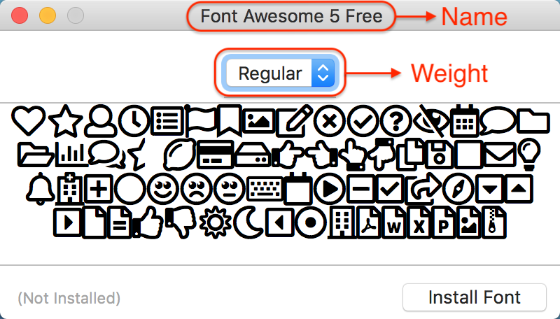 Mac Font Name & Weight