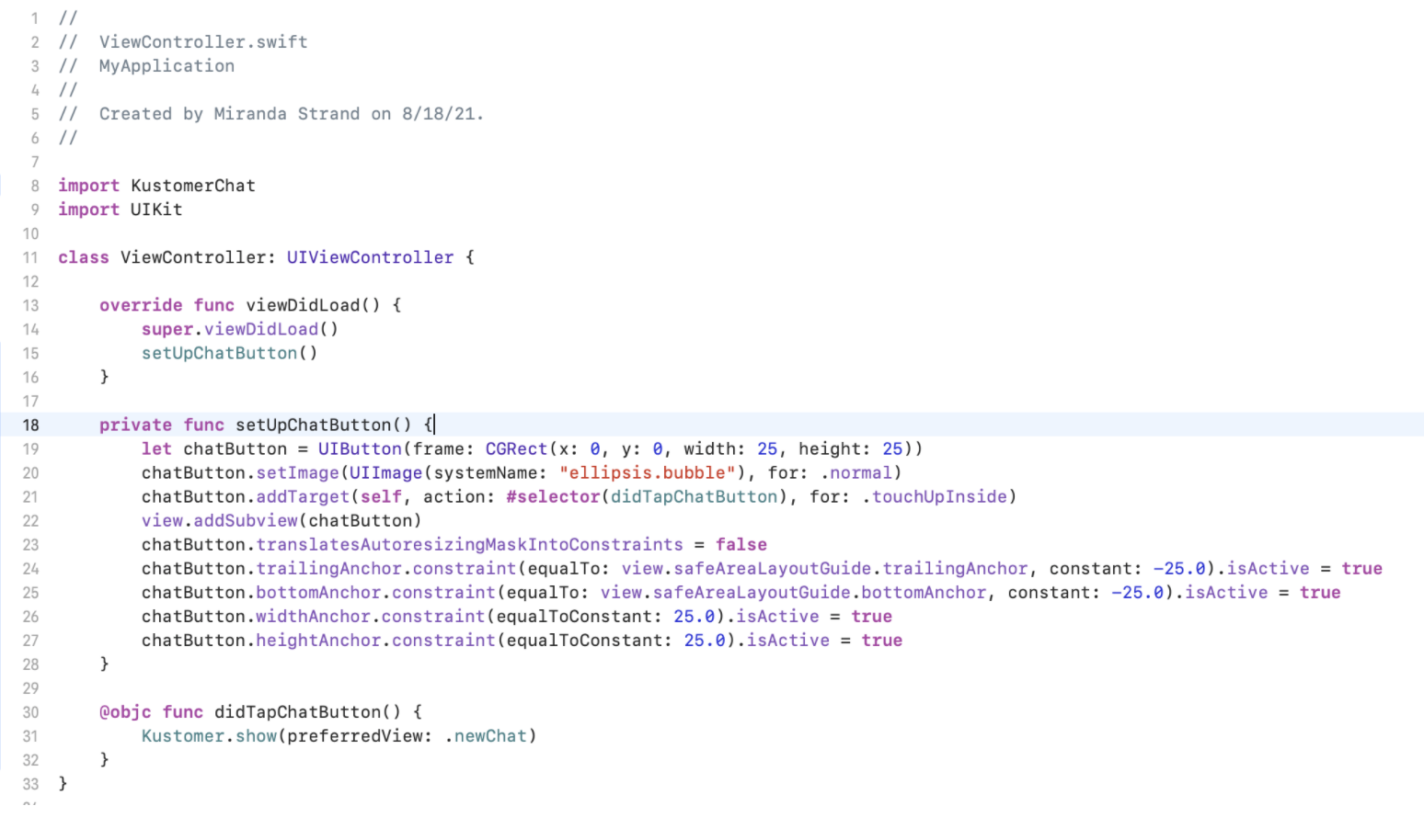 Alternate code to use in ViewController.swift.