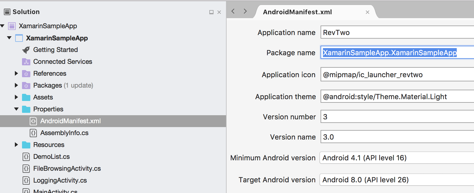 Xamarin Android Sample App