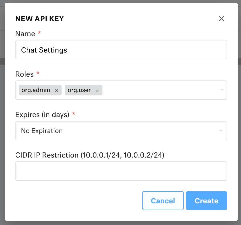 New API key modal. Settings displayed are Name: Chat Settings; Roles: org.admin, org.user; Expires (in days): No Expiration.