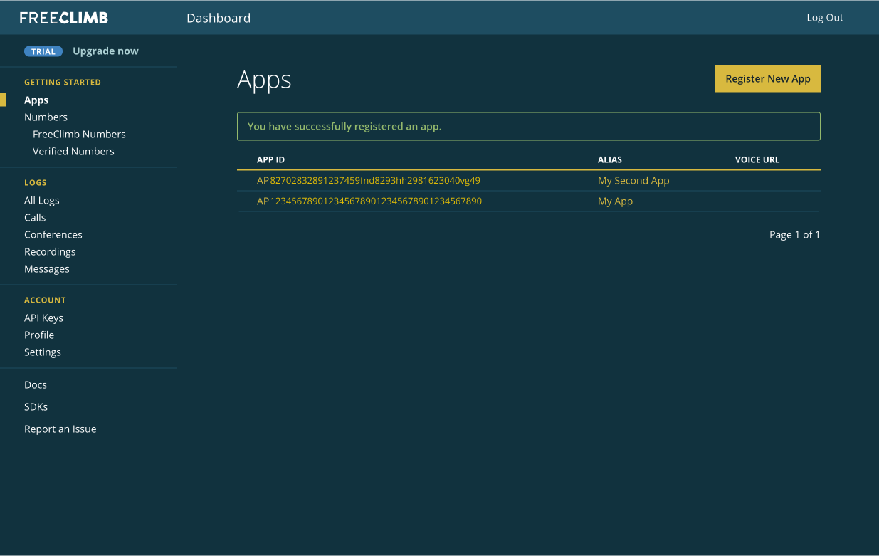 Table of applications with the newest app added.