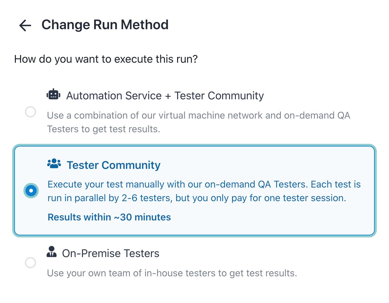 Selecting the run method.