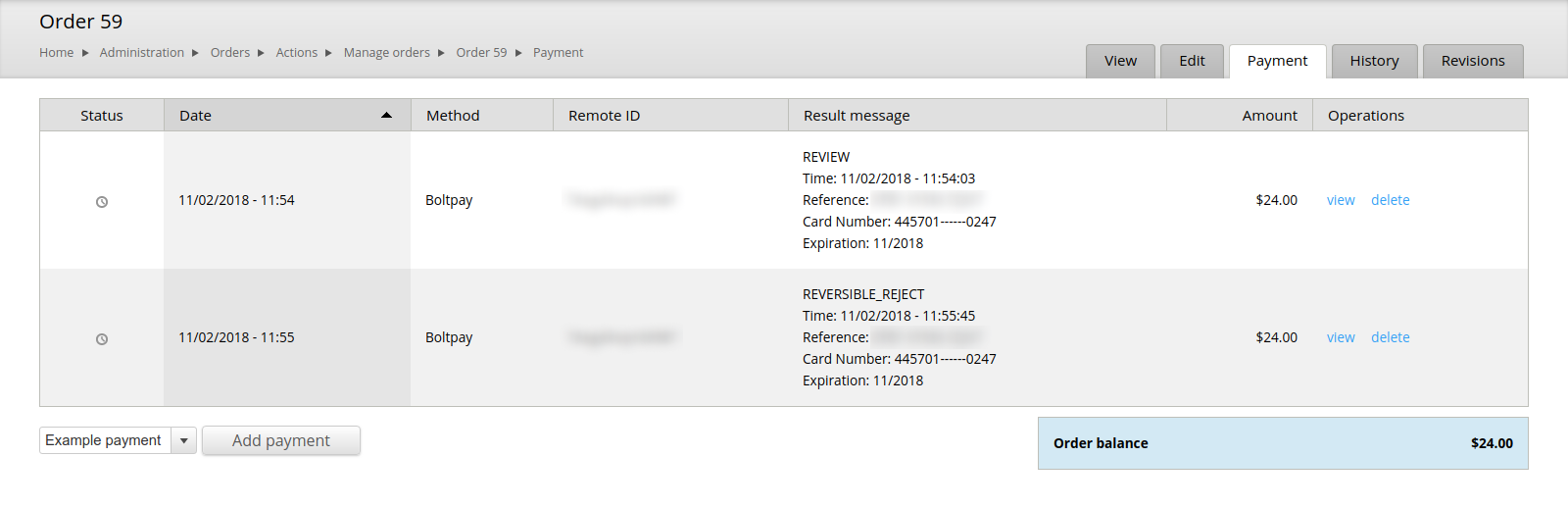 Image 7: Payment REVIEW -> REVERSIBLE_REJECT