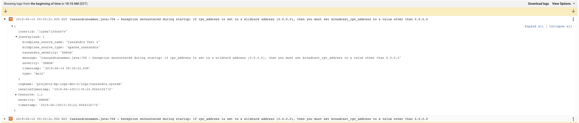 Apache Cassandra System Logs Example