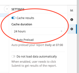 You can set the cache duration in the report's settings