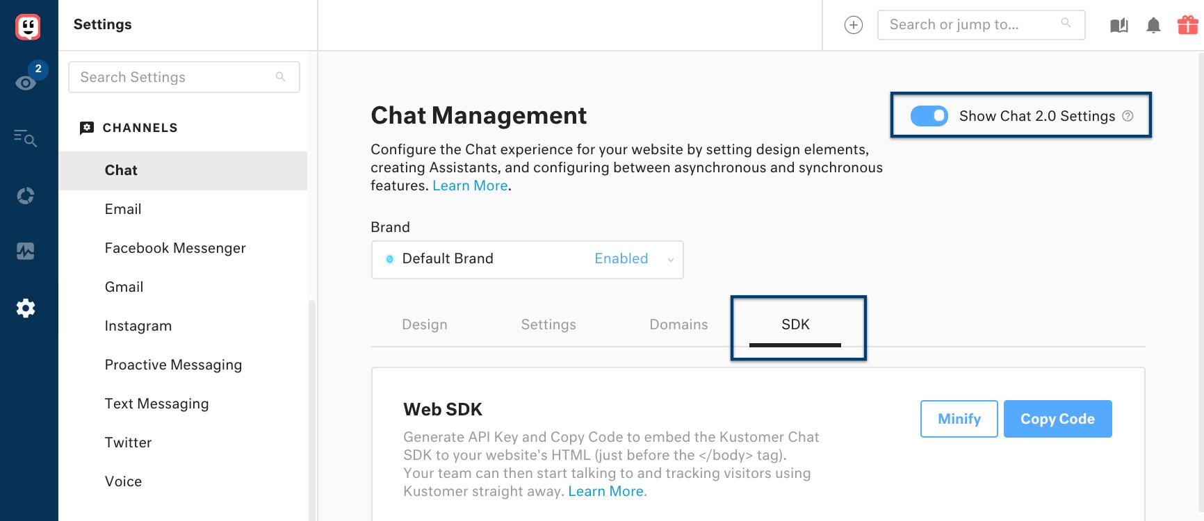 Chat Management: SDK settings in Kustomer.