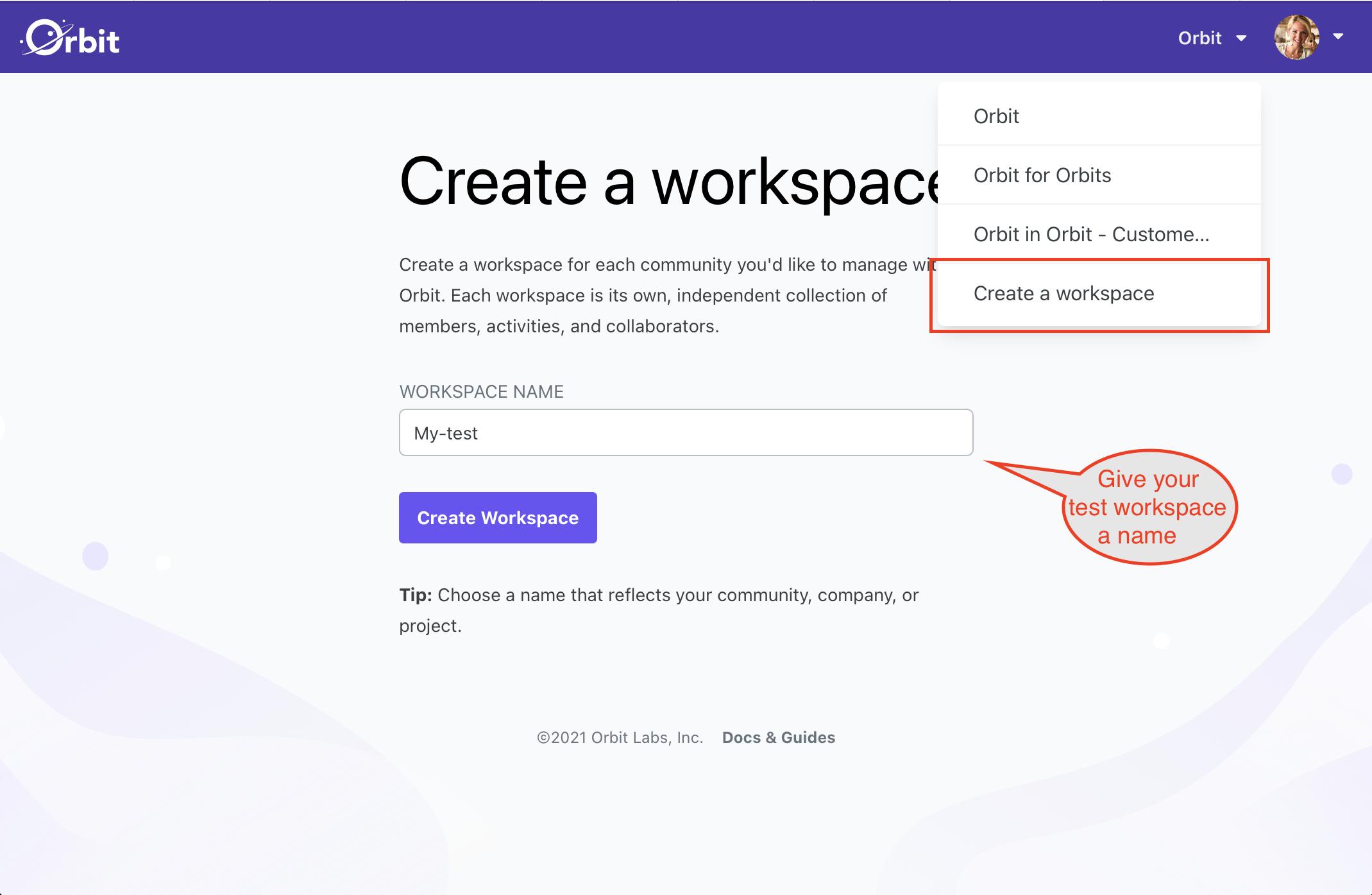 1. Create a workspace