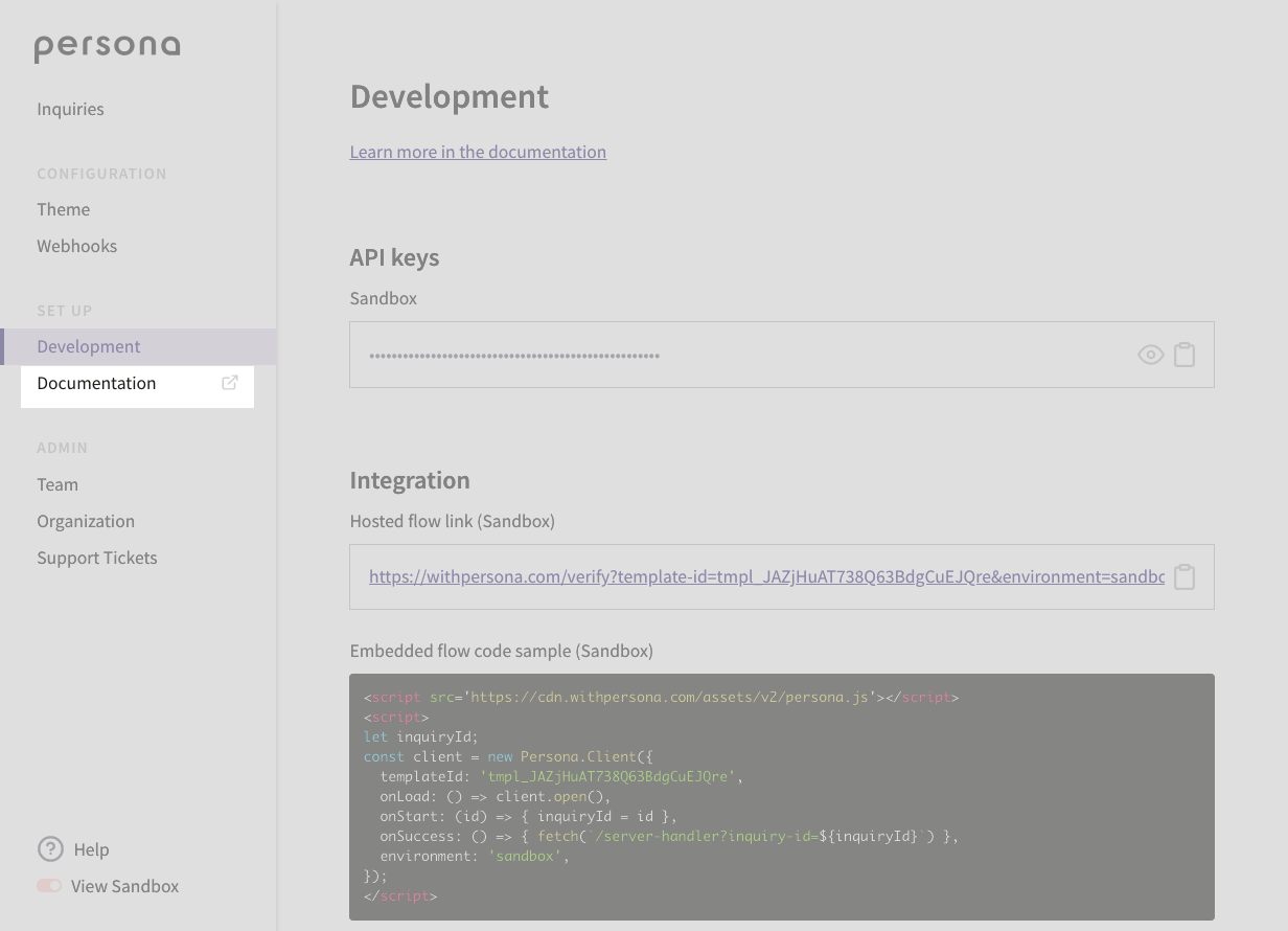 """Click on """"Documentation"""" to pre-fill the API examples with your Sandbox key"""
