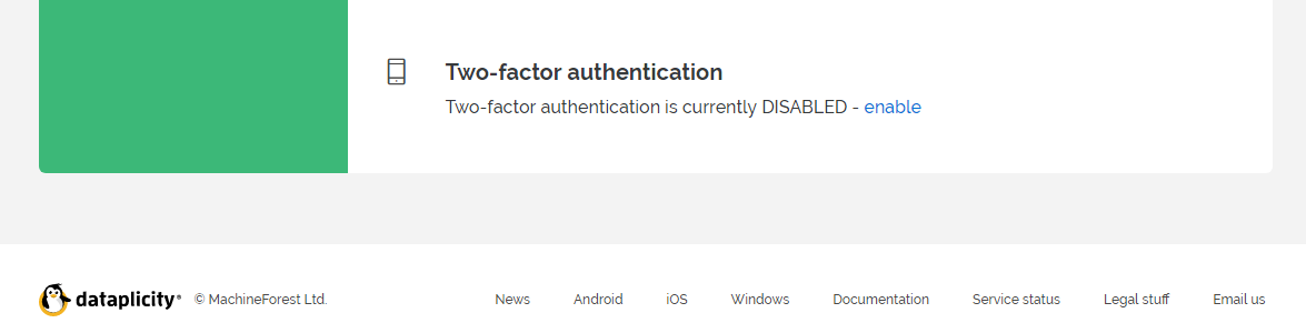 Two Factor Authentication feature at the bottom of your settings page