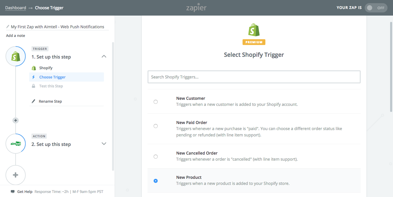 Selecting 'New Product' as the Trigger in Zapier.