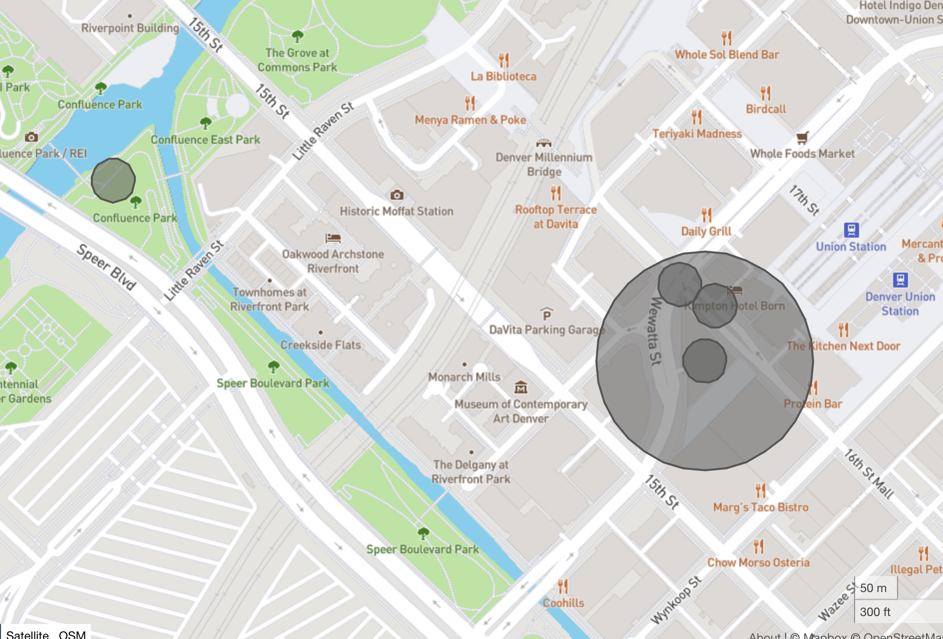 A location transition GeoJSON feature collection showing four device locations in relation to a circular geographic region, as displayed on http://geojson.io