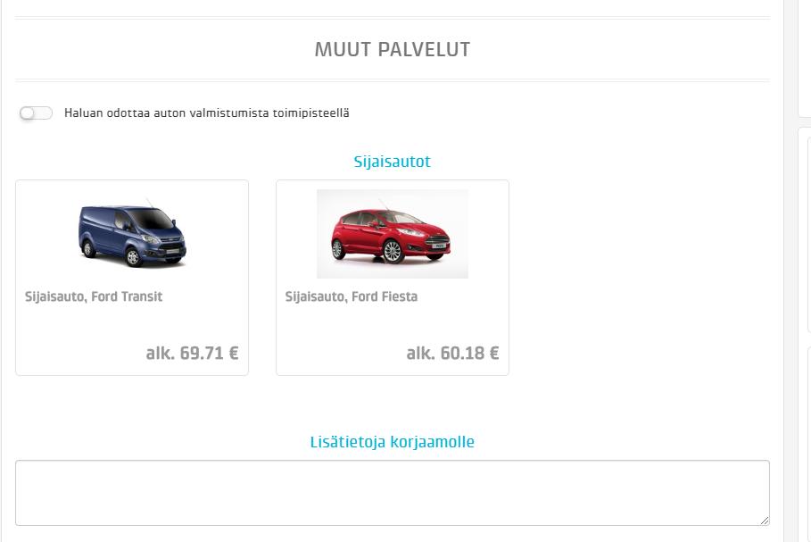 Jos käytössäsi on sijaisautoja, voit antaa myös nämä asiakkaan valittavaksi. Sijaisautoja voi olla tarjolla 3 eri tyyppiä.