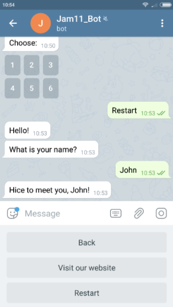 How the persistent menu items appear in Telegram
