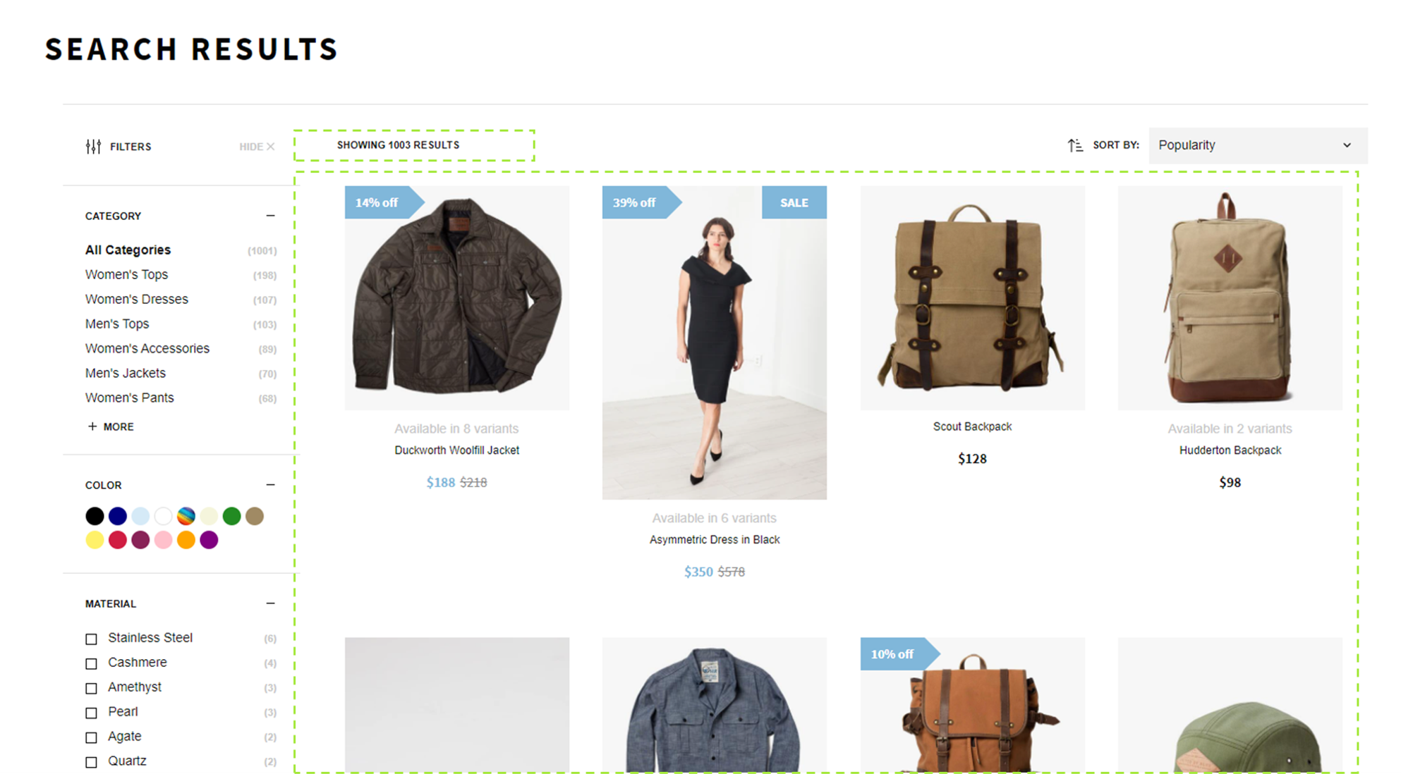 Product Grid for Desktop, here showcased with a search results page.